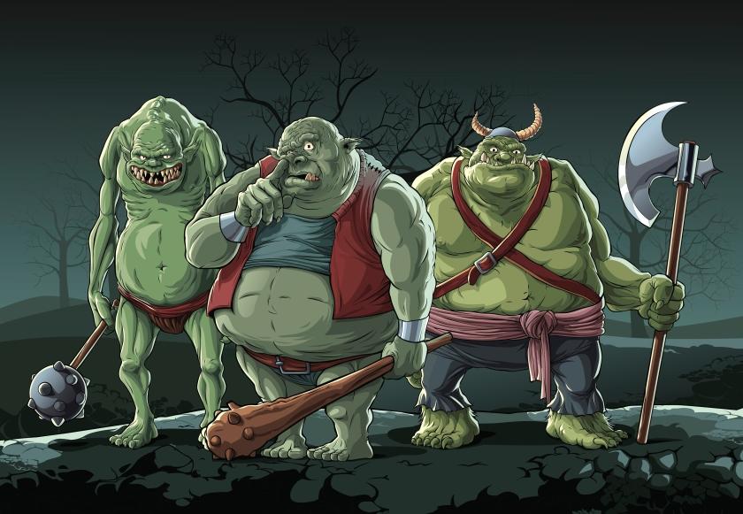 Three ugly trolls in night forest.
