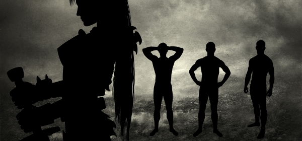 Silhouette of a female warrior and three half-naked men.
