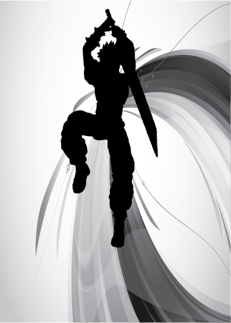 An artistic rendition of a final fantasy style warrior who is mid-jump and holding a sword over his head.
