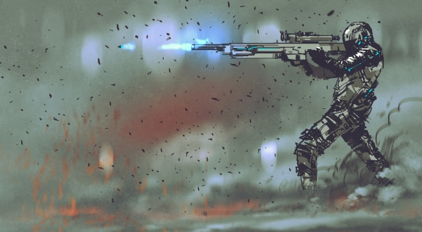 futuristic soldier a shooting rifle.